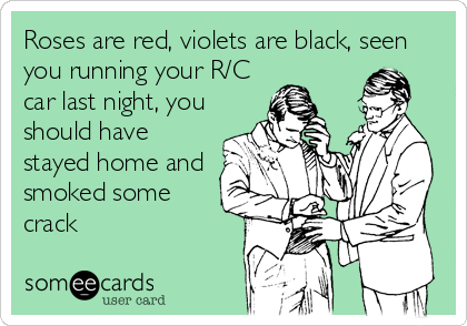 Roses are red, violets are black, seen you running your R/C car last night, you should have stayed home and smoked some crack