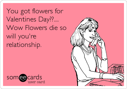 You got flowers for Valentines Day??.... Wow Flowers die so will you're relationship.