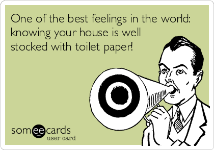 One of the best feelings in the world: knowing your house is well stocked with toilet paper!