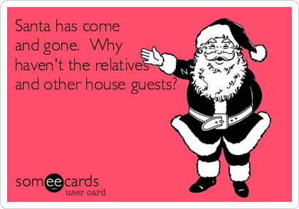 Santa has come and gone.  Why haven't the relatives and other house guests?