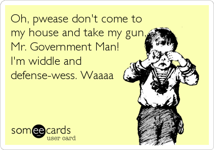 Oh, pwease don't come to my house and take my gun, Mr. Government Man! I'm widdle and defense-wess. Waaaa