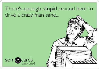 There's enough stupid around here to drive a crazy man sane...