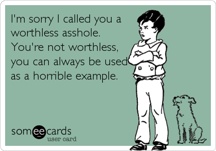 I'm sorry I called you a worthless asshole. You're not worthless, you can always be used as a horrible example.