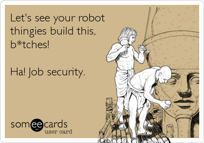 Let's see your robot thingies build this, b*tches!  Ha! Job security.