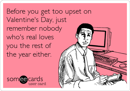 Before you get too upset on Valentine's Day, just remember nobody who's real loves you the rest of the year either.