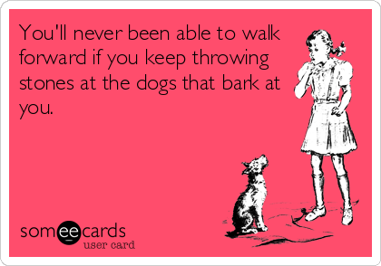 You'll never been able to walk  forward if you keep throwing stones at the dogs that bark at you.