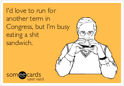 I'd love to run for another term in Congress, but I'm busy eating a shit sandwich.