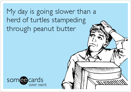 My day is going slower than a