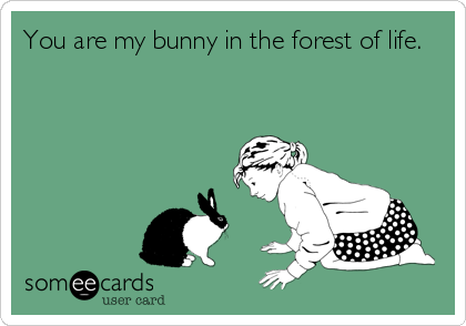 You are my bunny in the forest of life.
