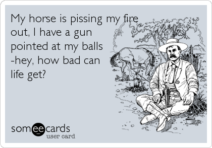 My horse is pissing my fire out, I have a gun pointed at my balls -hey, how bad can life get?