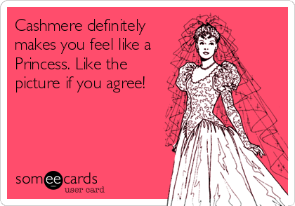 Cashmere definitely makes you feel like a Princess. Like the picture if you agree!