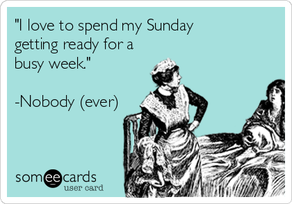 """I love to spend my Sunday  getting ready for a busy week.""   -Nobody (ever)"