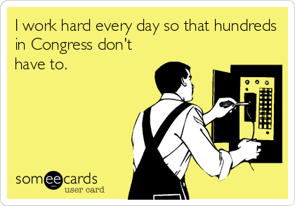 I work hard every day so that hundreds in Congress don't have to.