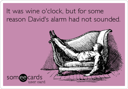 It was wine o'clock, but for some reason David's alarm had not sounded.