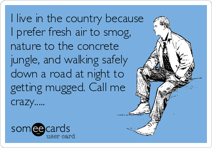 I live in the country because I prefer fresh air to smog,  nature to the concrete jungle, and walking safely down a road at night to getting mugged. Call me crazy.....