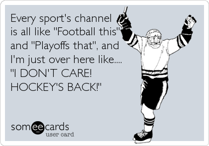 """Every sport's channel is all like """"Football this"""" and """"Playoffs that"""", and I'm just over here like....  """"I DON'T CARE! HOCKEY'S BACK!"""""""
