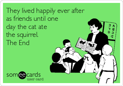 They lived happily ever after as friends until one day the cat ate the squirrel. The End