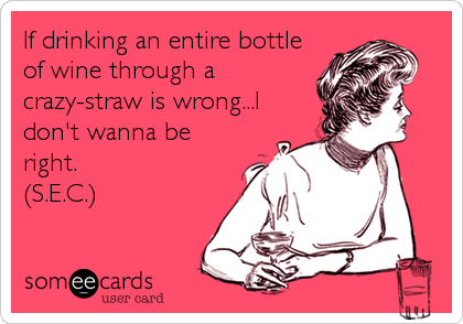 If drinking an entire bottle of wine through a crazy-straw is wrong...I don't wanna be right. (S.E.C.)