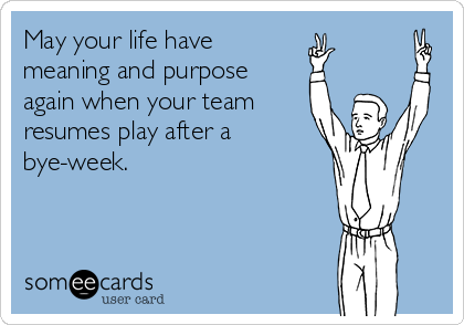 May your life have meaning and purpose again when your team resumes play after a bye-week.