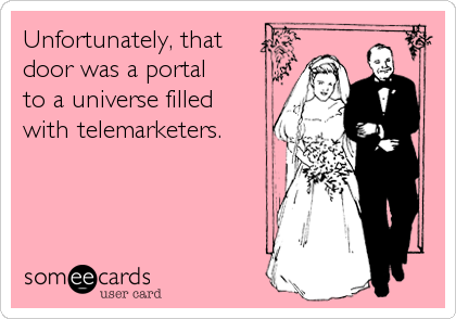 Unfortunately, that  door was a portal to a universe filled with telemarketers.