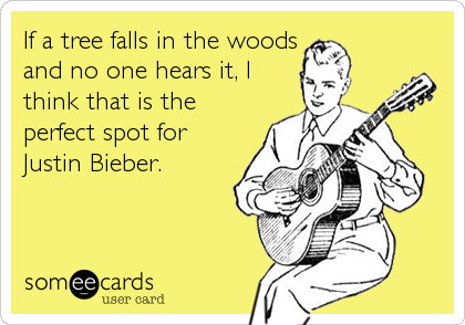 If a tree falls in the woods and no one hears it, I think that is the perfect spot for Justin Bieber.