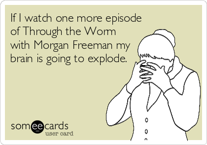 If I watch one more episode of Through the Worm with Morgan Freeman my brain is going to explode.