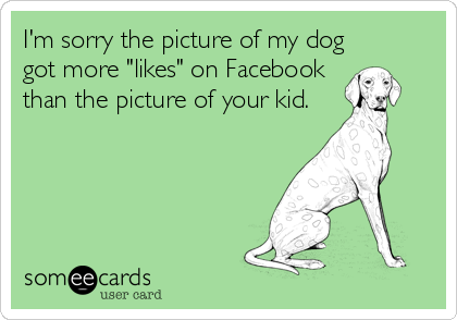 """I'm sorry the picture of my dog got more """"likes"""" on Facebook than the picture of your kid."""