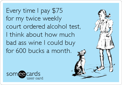 Every time I pay $75  for my twice weekly  court ordered alcohol test,  I think about how much  bad ass wine I could buy for 600 bucks%2
