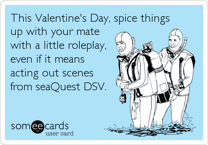 This Valentine's Day, spice things up with your mate with a little roleplay, even if it means  acting out scenes from seaQuest DSV.