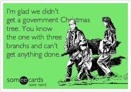 I'm glad we didn't get a government Christmas tree. You know the one with three branchs and can't get anything done.