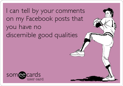 I can tell by your comments on my Facebook posts that you have no discernible good qualities