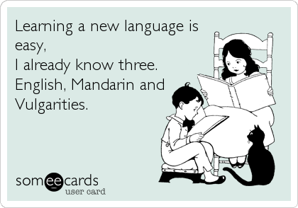 Learning a new language is easy, I already know three. English, Mandarin and Vulgarities.