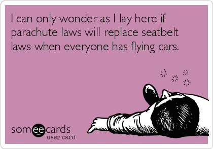 I can only wonder as I lay here if parachute laws will replace seatbelt laws when everyone has flying cars.