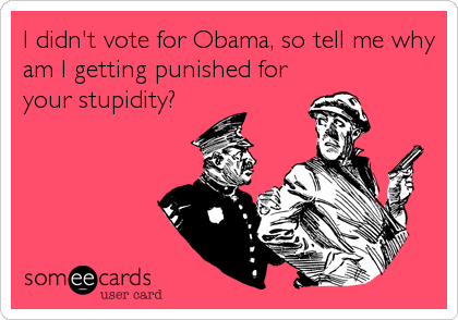 I didn't vote for Obama, so tell me why am I getting punished for your stupidity?