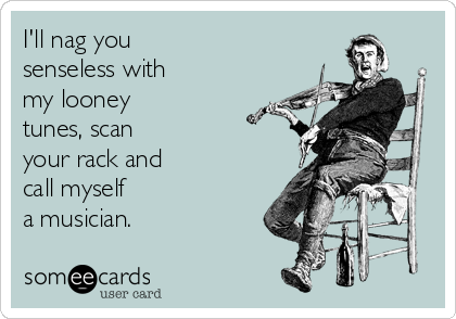 I'll nag you  senseless with  my looney  tunes, scan  your rack and call myself a musician.