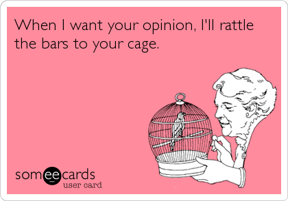 When I want your opinion, I'll rattle the bars to your cage.