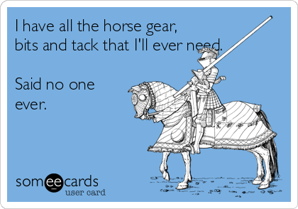 I have all the horse gear, bits and tack that I'll ever need. Said no one ever.