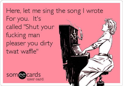 """Here, let me sing the song I wrote For you.  It's called """"Shut your fucking man pleaser you dirty twat waffle"""""""