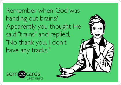 """Remember when God was handing out brains? Apparently you thought He said """"trains"""" and replied, """"No thank you, I don't have any tracks."""""""