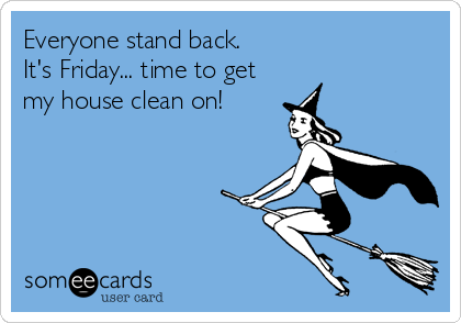 Everyone stand back. It's Friday... time to get my house clean on!