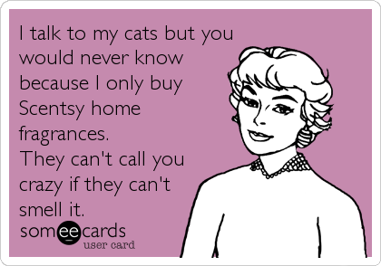 I talk to my cats but you would never know because I only buy Scentsy home fragrances.  They can't call you crazy if they can't<br /%
