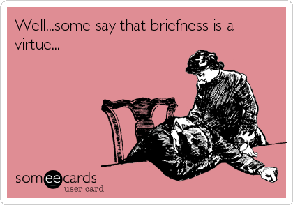 Well...some say that briefness is a virtue...