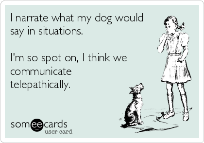 I narrate what my dog would say in situations.  I'm so spot on, I think we communicate telepathically.