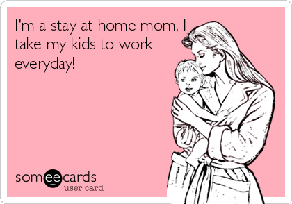 I'm a stay at home mom, I take my kids to work everyday!