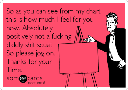 So as you can see from my chart this is how much I feel for you now. Absolutely  positively not a fucking  diddly shit squat.  So please jog on.  Thanks for your  Time.
