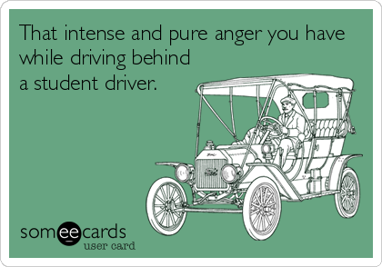 That intense and pure anger you have while driving behind a student driver.