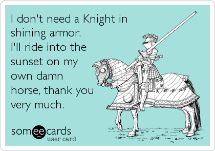 I don't need a Knight in shining armor. I'll ride into the sunset on my own damn horse, thank you very much.
