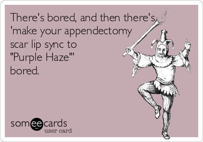 "There's bored, and then there's 'make your appendectomy  scar lip sync to  ""Purple Haze""'  bored."