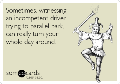 Sometimes, witnessing  an incompetent driver trying to parallel park,  can really turn your  whole day around.