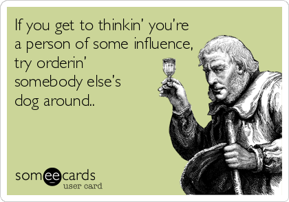 If you get to thinkin' you're a person of some influence, try orderin' somebody else's  dog around..